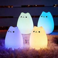 Lampu tidur Portable Kucing 7 Warna / touch led lamp