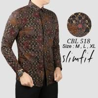 New Branded Kemeja Batik Formal Pria Slim Fit Katun Lengan Panjang