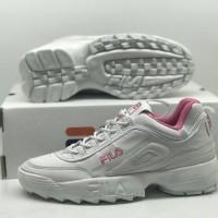 Sepatu Fila Disruptor Putih Pink Sneakers Casual Sport Wanita Murah