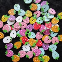 New Arrival BERRY WOODEN BUTTON 12X16MM 2 HOLLES DIY CRAFT SCRAPBOOK