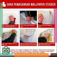 Grosir Wallpaper Sticker Dinding Motif Garis Putih Pink Manis &