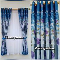 Gorden/hordeng minimalis blackout printing biru jendela pintu rumah