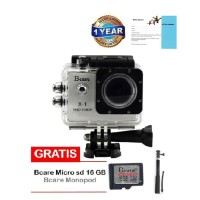 Bcare X-1 Action Cam 12 MP 1080 P- Silver+micro SD 16 GB C10 + tongsis
