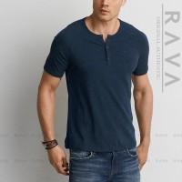 Harga termurah baju kaos pria raglan henley oblong by rava premium | antitipu.com