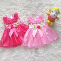 Little Baju Dress Gaun Pesta Anak Bayi Perempuan Pita Panjang Bunga