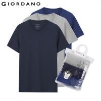 Kaos Import 35 - Giordano Pria Kaus Pria Lengan Pendek 3-Bungkus Kaus