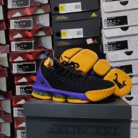 5175d0bd144 SEPATU BASKET NIKE LEBRON 16 LAKERS BLACK REPLIKA BOX ORIGINAL MURAH
