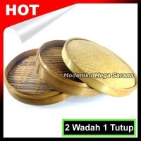 Klakat Bambu Dimsum 50cm | Kukusan Bambu - 2 Wadah + 1 Tutup