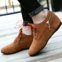 Sepatu wanita coklat tali boots boots resleting korea jepang unik