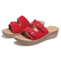 Harga sandal wanita red wedges termurah bs 177 sandal pesta | antitipu.com