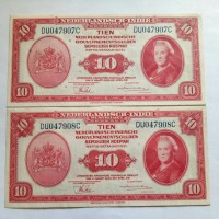 Uang Kuno Seri NICA 2 Lembar Urut 10 Tien Gulden Nederlandsch-Indie
