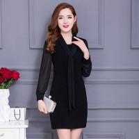 Dress korea tangan panjang kombinasi