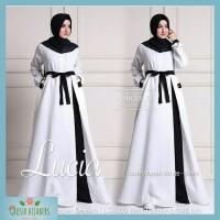 Baju Gamis Syari Wanita Terbaru Lucia Dress White Putih Murah