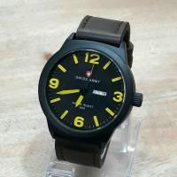 Jam Tangan Cauple Swiss Army Day Date On Leather Dark Brown Yelow