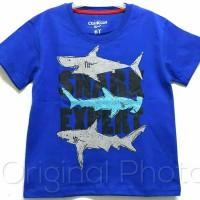 Baju kaos karakter anak laki-laki shark biru 7-10