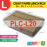 PLC-L20 | Paper Lunch Box Brown Craft Uk. L / Large + Cetak 2 Warna