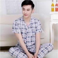 cp piyama cowok/ baju tidur cowok krah dewasa