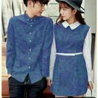 DRESS PASANGAN/DRESS COUPLE/BAJU COUPLE KEMEJA KOTAK MURAH KOREA