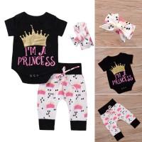Set 3Pcs Romper Princess Bayi Perempuan Lengan Panjang   Celana Motif