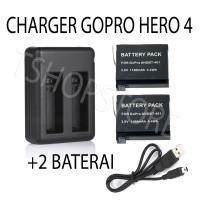 Dual Baterai + Charger GoPro Hero 4