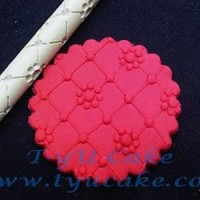 R16 Flowers & Rhombus Rolling Pin Polimer 16CM