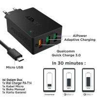 A62167 Aukey PA-T14 Wall Charger with Quick Charge 3.0 - Hitam 42W 3 p