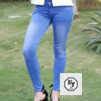 Unik celana panjang jeans wanita biru / skinny jeans pensil Murah