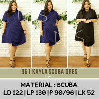 BAJU ATASAN BIG SIZE BRANDED JUMBO KAYLA DRESS BIGSIZE SCUBA FIT TO