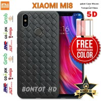 Case Casing Woven + Tempered Glass 5D Full Layar Hp Xiaomi Mi8 Mi 8