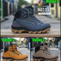 Sepatu Tracking Safety Boots Pria Original Azcost Hikers Bahan Kulit