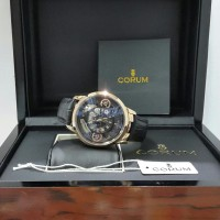 Jam Tangan Pria Corum Skeleton + Box Original