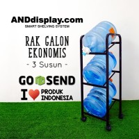 RAK GALON AIR 3 SUSUN HITAM EKONOMIS BERODA