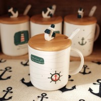 Gelas cangkir mug kopi teh corak keramik souvenir tutup sendok cantik