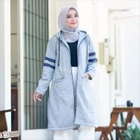 HJ BX Sky Grey Hijaket Premium Jaket Hoodie Wanita