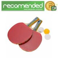 REGAIL Perlengkapan Set Tenis Meja Pingpong 2 Raket   3 Bola - Merah