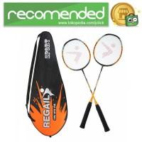 REGAIL Raket Badminton Carbon Fiber 2 PCS - 8019 - Oren