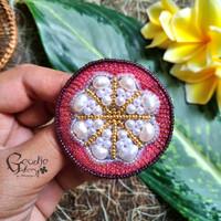 2in1 Bros dan kalung buah batu alam/manik embroidery handmade-manggis