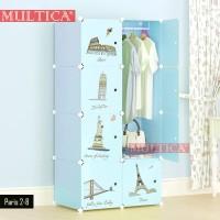 Multica Lemari Pakaian Kos Motif Paris Bulding Rak Baju WB2-8-1H Kotak