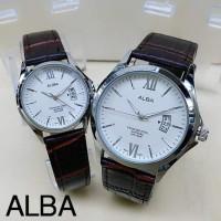 Jam Tangan Alba AL81715 Couple Body Silver Tali Kulit