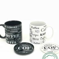 Cangki + Tutup full print coffee/ Mug teh/ Gelas kopi/ Gelas Keramik