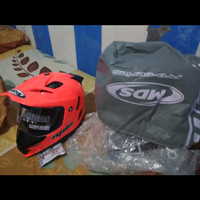 HELM MDS SUPERPRO UKURAN M RED FLUO (BARU)
