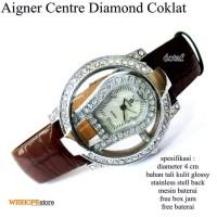 T2105 jam tangan wanita kulit glossy agner center full set hitam
