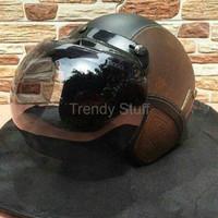 Helm Murah Helm Kekinian helm bogo retro kulit classic coklat hitam k