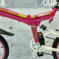 SEPEDA LIPAT UNITED QUEST FX 02 PINK FOLDING BIKE FULL SUSPENSION 6S