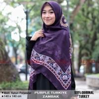 Jual Jilbab Segi Empat Motif Zambak PURPLE Hijab Voal Turki kerudung paris Murah
