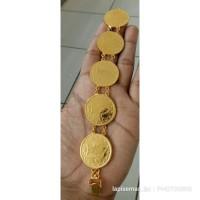 Gelang koin besar lapis emas 24k