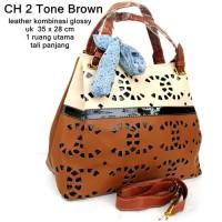 T2105 tas wanita handbag ch 2 tone hitam