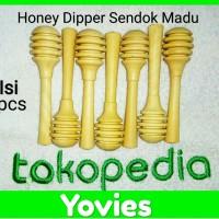 Honey Dipper Sendok Madu Kayu Kopi Elegant 8cm Isi 6pcs