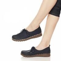 Sepatu wanita sol karet kickers kulit model slip on sepatu kerja