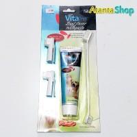 VitaLine - 100g Beef Flavor Toothpaste pasta gigi & sikat gigi anjing